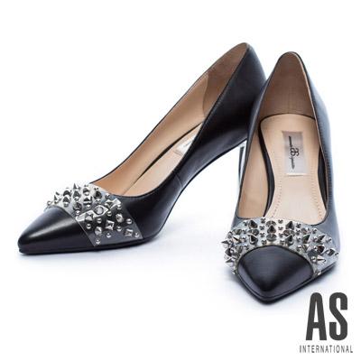 高跟鞋 AS 金屬風鉚釘膠片羊皮尖頭高跟鞋-黑