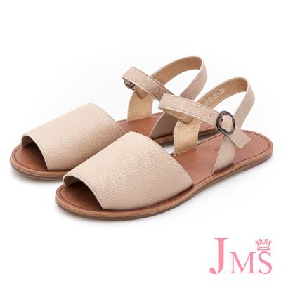 JMS-韓版簡約 寬面魚口平底涼鞋-粉色
