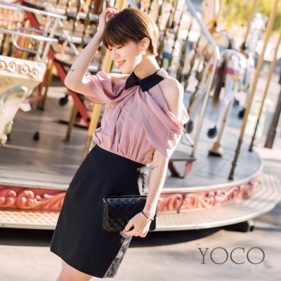 東京著衣-yoco安琪聯名巴黎美人纖臂削肩連身洋裝-XS.S.M.L(共一色)