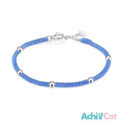 AchiCat 蠶絲蠟繩手鍊 925純銀 五福臨門(淺藍)
