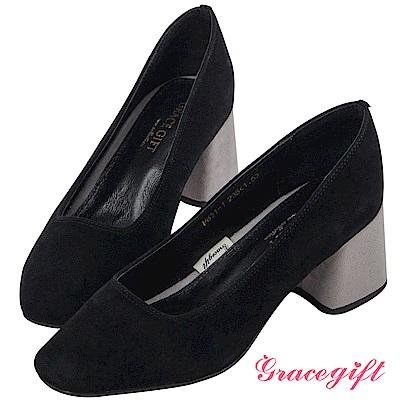 Grace gift-全真皮復古方頭撞色跟鞋 黑
