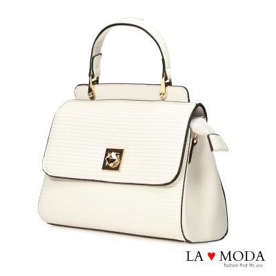 La Moda 精品質感波浪紋特殊旋鈕肩背手提波士頓包(白)