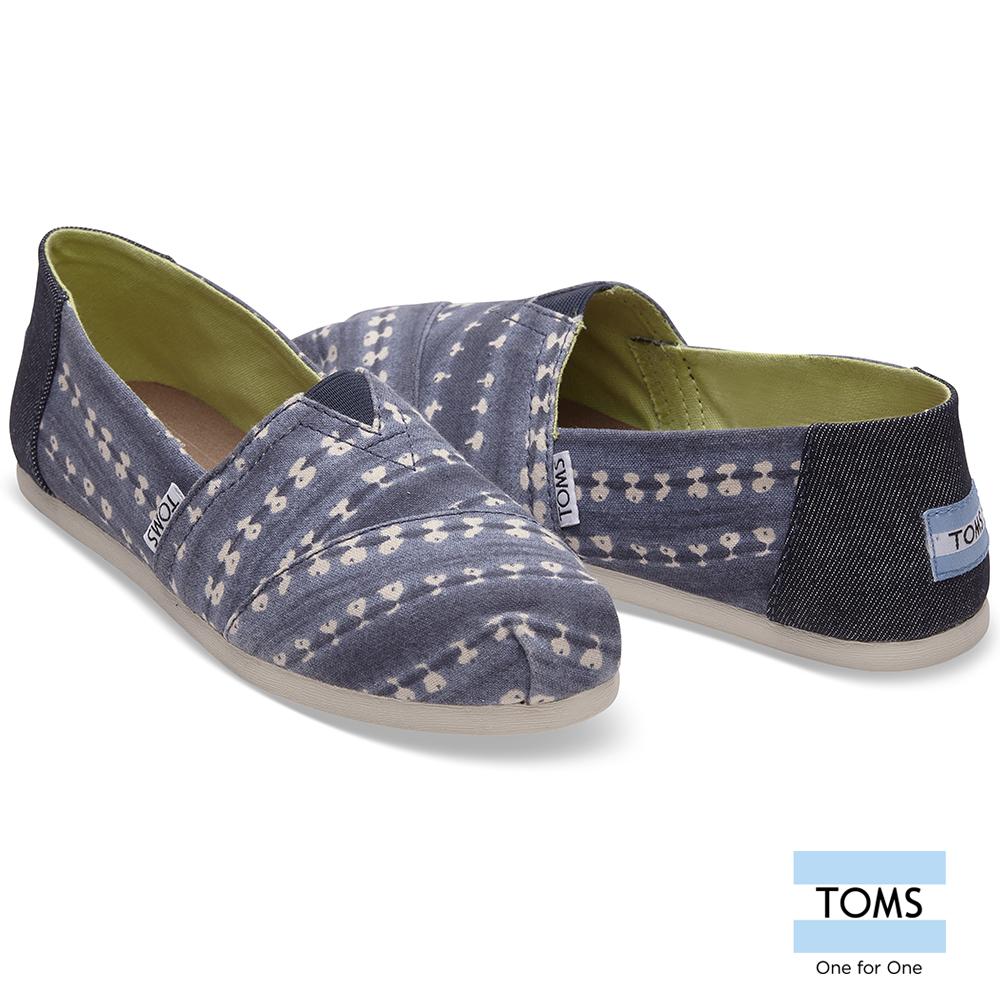 TOMS 條紋蠟染帆布懶人鞋-女款