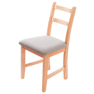 CiS自然行實木家具- 北歐實木書椅(溫暖柚木色)淺灰色椅墊