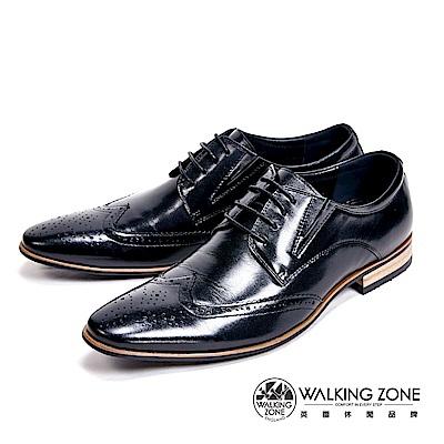 WALKING ZONE 嚴選木頭跟雕花質感男皮鞋-黑(另有棕)