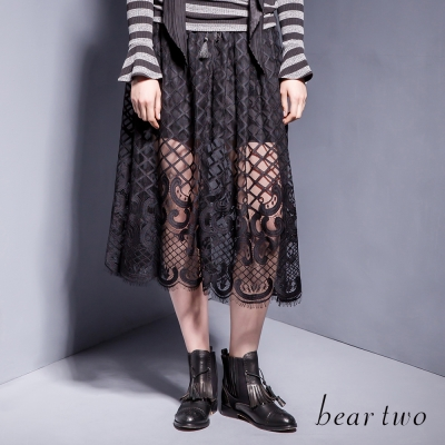 beartwo透視感網格繡花蕾絲長紗裙-黑色
