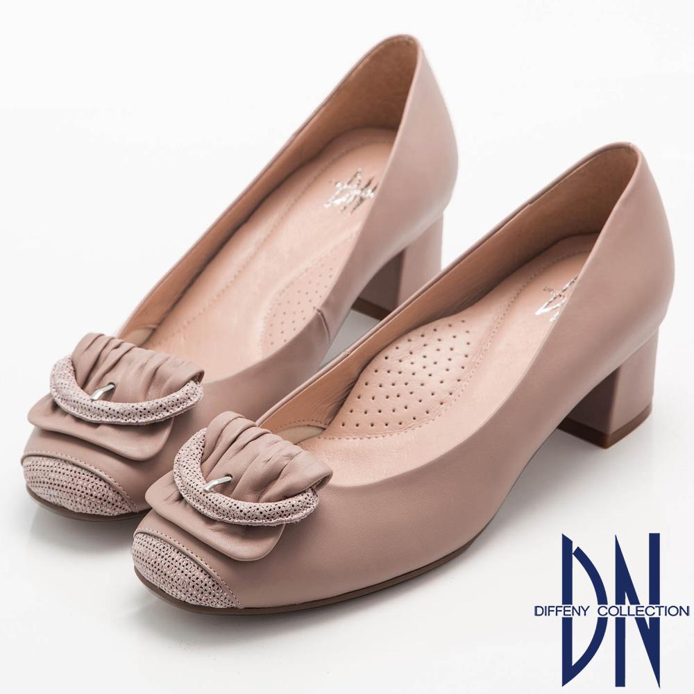 DN 都會優雅 全真皮素面簡約飾扣低跟鞋-粉