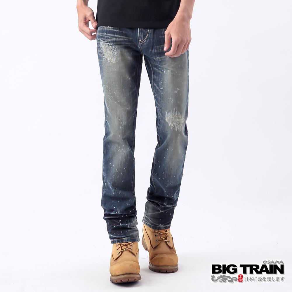 BIG TRAIN-街頭達磨破壞超窄直筒褲-深藍