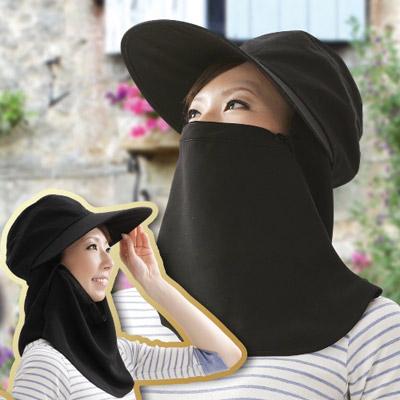 【Sunlead】多機能寬簷款。防曬護頸面罩三用式遮陽帽 (黑色)