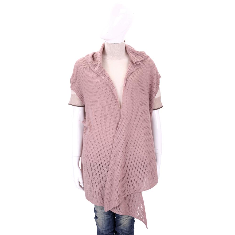ALLUDE 粉色洞洞針織連帽喀什米爾羊毛罩衫/披肩(100%CASHMERE)