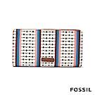 FOSSIL CAROLINE真皮薄型中長夾-經典鑰匙圖騰