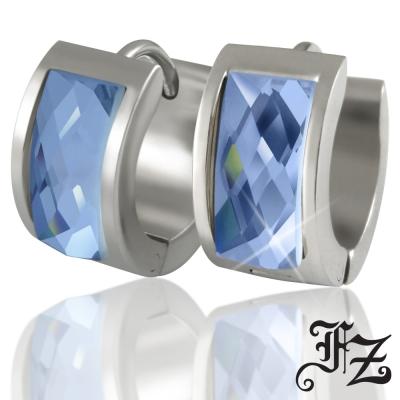 FZ  時尚簡約T鑽鋼耳環(藍鑽)