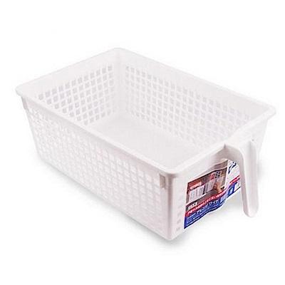 WAVA 日本SANADA帶手柄塑膠收納籃(白色)