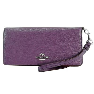 COACH-立體馬車雙折扣式皮革手拿長夾-紫