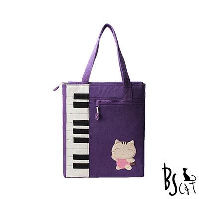ABS貝斯貓 可愛貓咪拼布 A4可入肩背包 提袋 (紫) 88-200