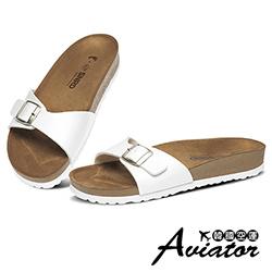 Aviator*韓國空運-PAPERPLANES正韓製簡約皮革一字涼拖鞋-白