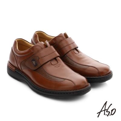 A.S.O 抗震雙核心 全牛皮超輕抗震休閒皮鞋 茶色