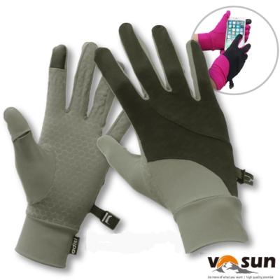 【VOSUN】台灣製 Tactel 透氣彈性抗UV觸控多功能手套_灰/黑