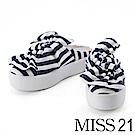 拖鞋 MISS 21 簡約條紋配色蝴蝶結厚底拖鞋-藍