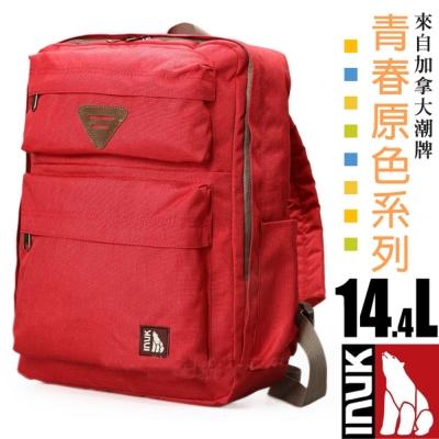 【加拿大 INUK】青春原色 潮牌人體工學避震背負後背包14.4L_紅色