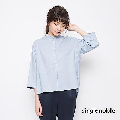獨身貴族 高貴英倫簡約純色立領襯衫(2色)