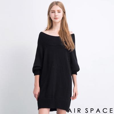 AIR-SPACE-露肩一字領針織長版洋裝-黑
