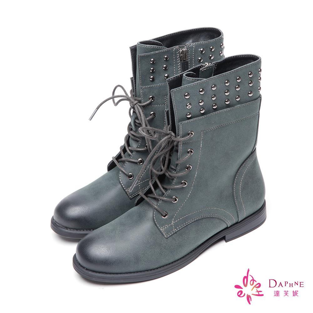 達芙妮DAPHNE 中性風格個性金屬鉚釘綁帶軍靴-時髦藍灰8H