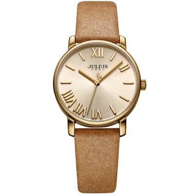 JULIUS聚利時 尋憶旅程立體刻度真皮腕錶-駝色/31mm