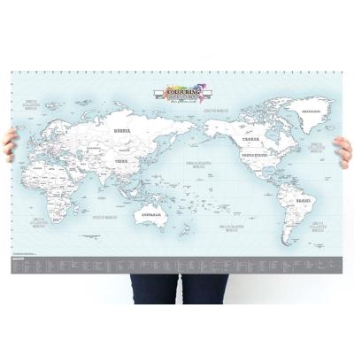 indimap 環遊世界世界地圖海報(改版-單張)-03著色版