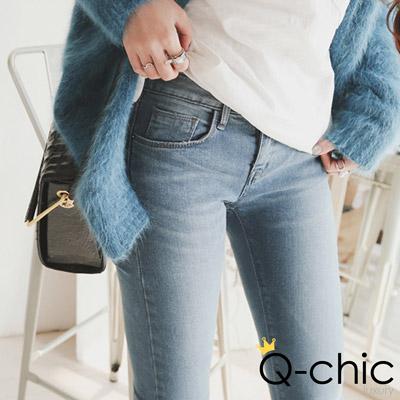 煙燻水洗設計感口袋合身牛仔褲 (藍色)-Q-chic