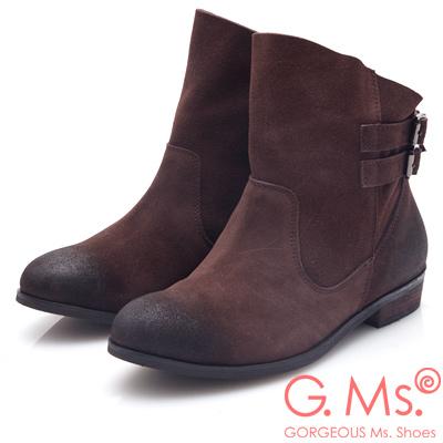 G.Ms. 牛麂皮斜口皮帶釦低跟短靴-深咖啡