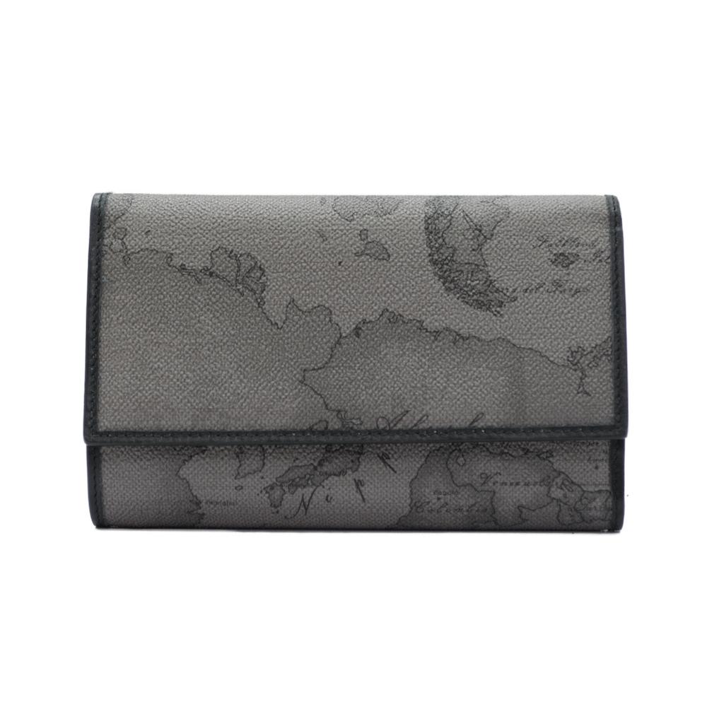 Alviero Martini 義大利地圖包 限量 扣式零錢包中夾-地圖灰
