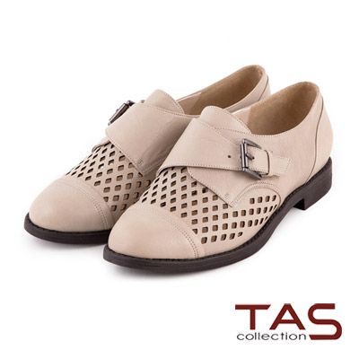 TAS-太妃Q系列-柔軟乳膠幾何鏤空造型扣帶牛津鞋