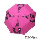 義大利 H.DUE.O 經典黑貓抗UV三折半自動傘 3色可選