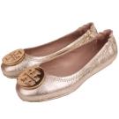TORY BURCH 金屬盾牌飾折疊平底鞋(亮金色)