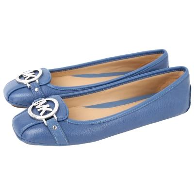 Michael Kors 銀LOGO牛皮休閒平底鞋(牛仔藍)