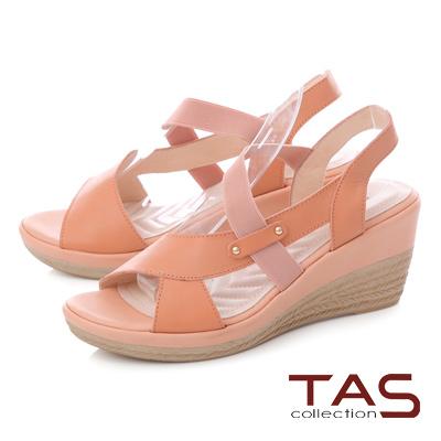 TAS鏤空鬆緊繫帶楔型涼鞋-夏日橘