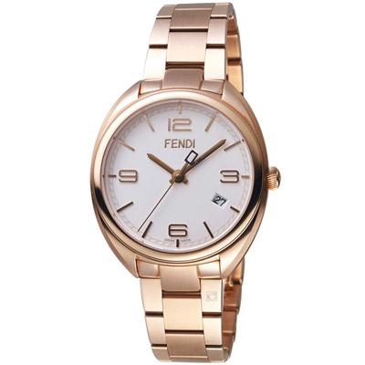 芬迪 FENDI Momento系列時尚環紋腕錶-玫瑰金色/ 35 mm