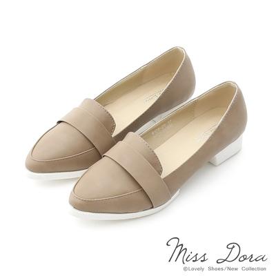 Miss-Dora-都會風采-素面尖頭低跟紳士鞋-灰
