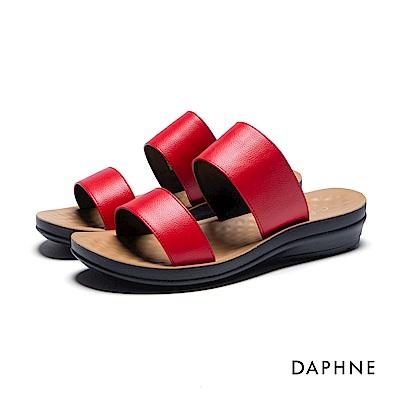 達芙妮DAPHNE 拖鞋-寬版雙帶按摩顆粒平底拖鞋-紅