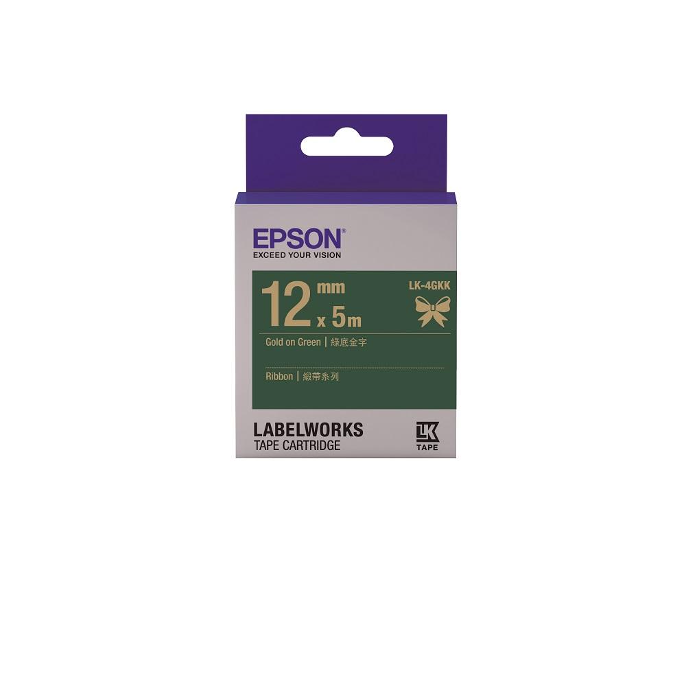 EPSON C53S654447 LK-4GKK緞帶系列 綠底金字標籤帶 寬12mm