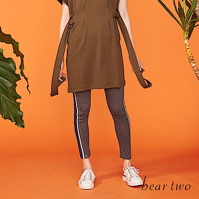 beartwo 超顯瘦邊條造型內搭長褲(二色)