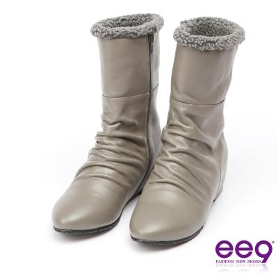 ee9 MIT經典手工~質感簡約抓皺內增高百搭中筒靴*灰色