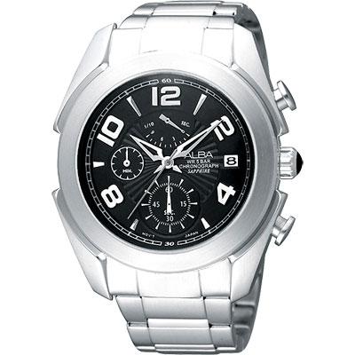 ALBA 街頭玩家時尚逆跳計時腕錶(AS6071X)-黑/42mm