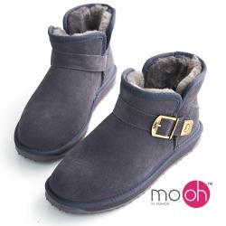 mo.oh  澳洲牛麂皮防潑水搭扣短筒雪靴-灰色