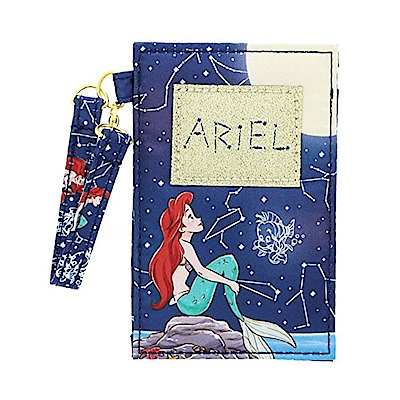 sun-star 迪士尼公主靜謐夜空系列緞面材質票卡夾附掛繩(小美人魚)