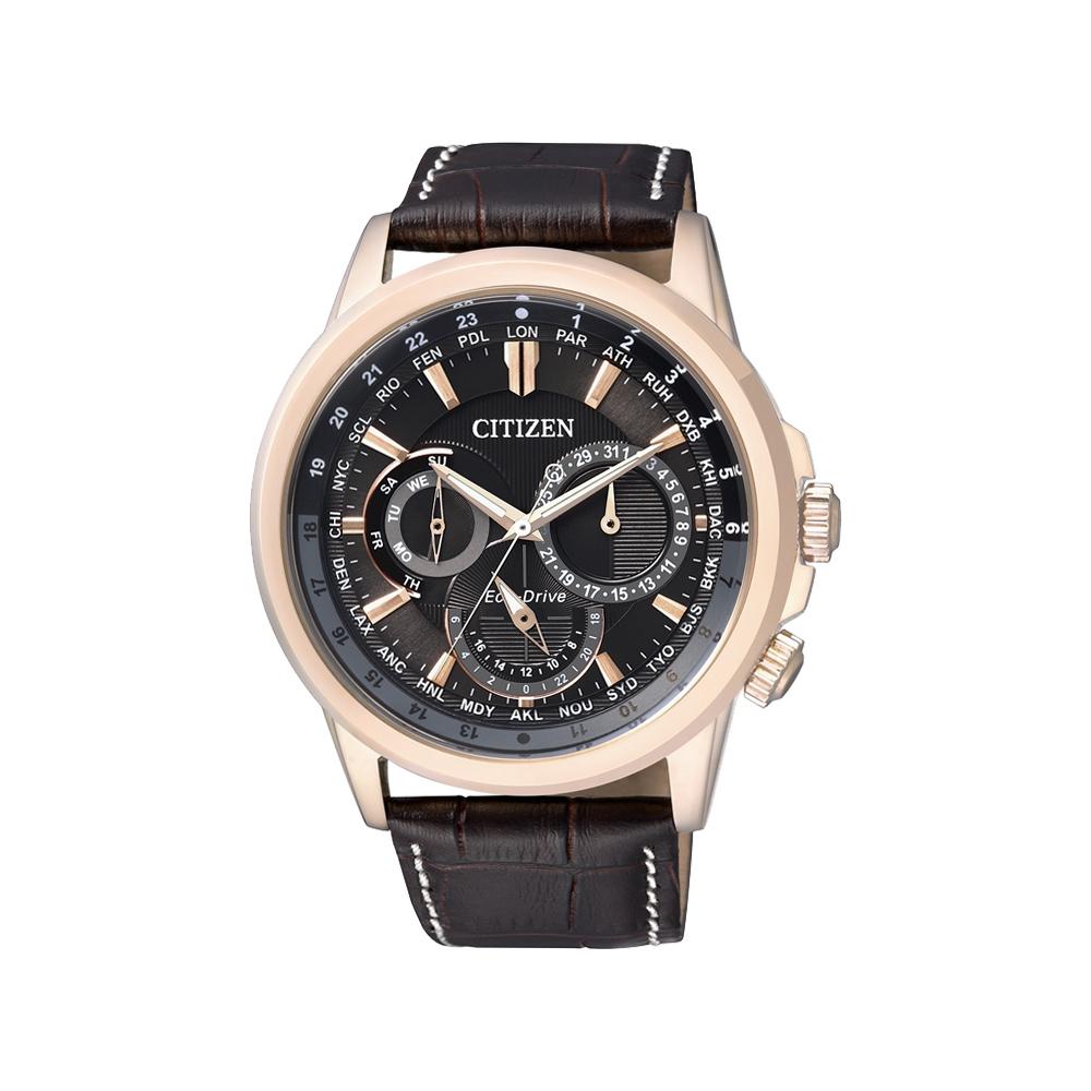 CITIZEN 星辰環球光動能日曆腕錶(BU2023-12E)-黑x玫瑰金框/44mm