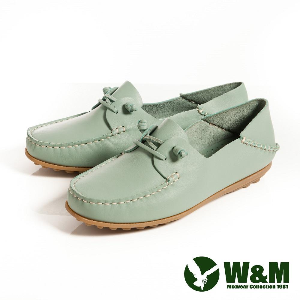 W&M 可水洗柔軟防滑鞋底-豆豆鞋莫卡辛鞋女鞋-淺藍