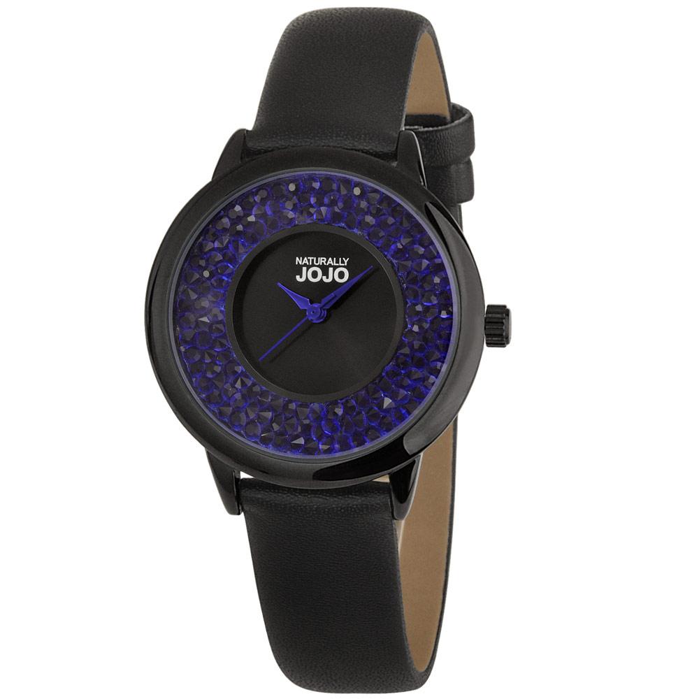 NATURALLY JOJO 極致美型晶鑽時尚腕錶-黑x藍/36mm