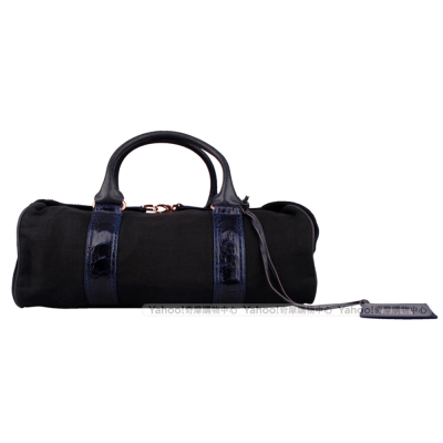 Balenciaga 織布手提藍黑機車包